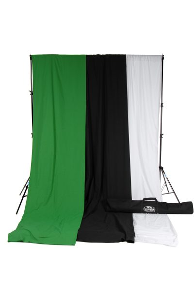 savage black white green muslin backdrop kit