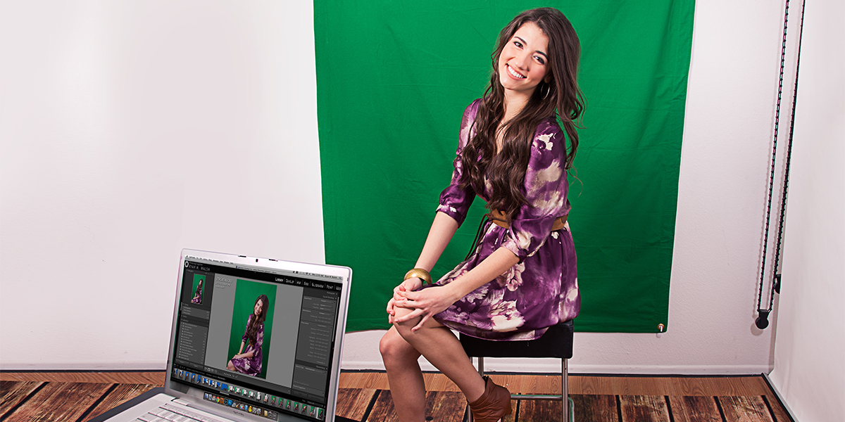 headshot model posing on green screen