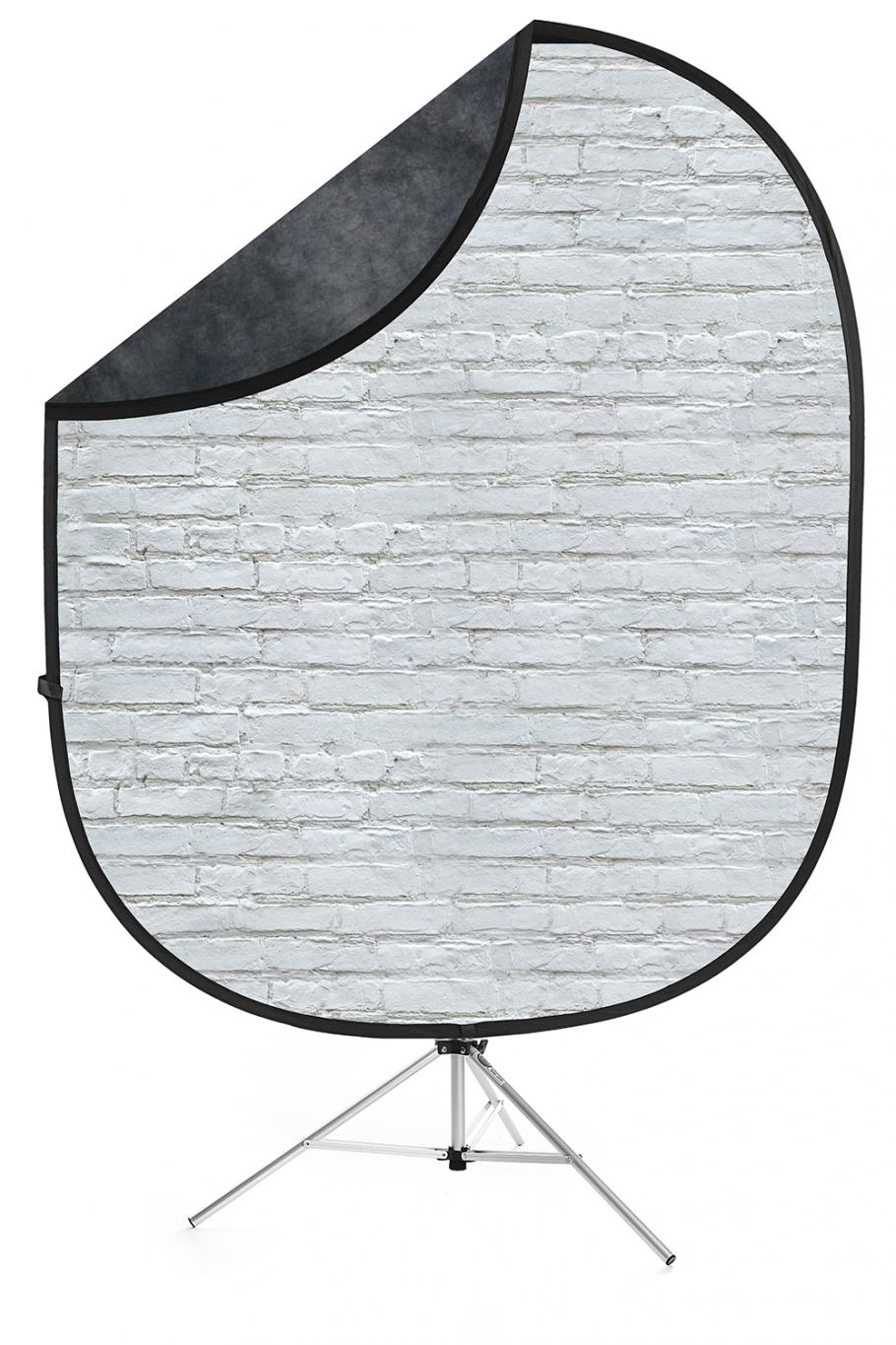 white brick dark gray collapsible backdrop