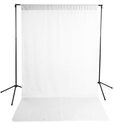 White Wrinkle-Resistant Background with Optional Stand Image 1
