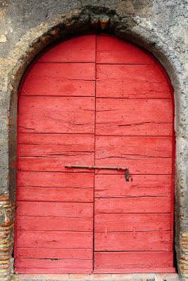 Aged Red Doorway Printed Vinyl Backdrop