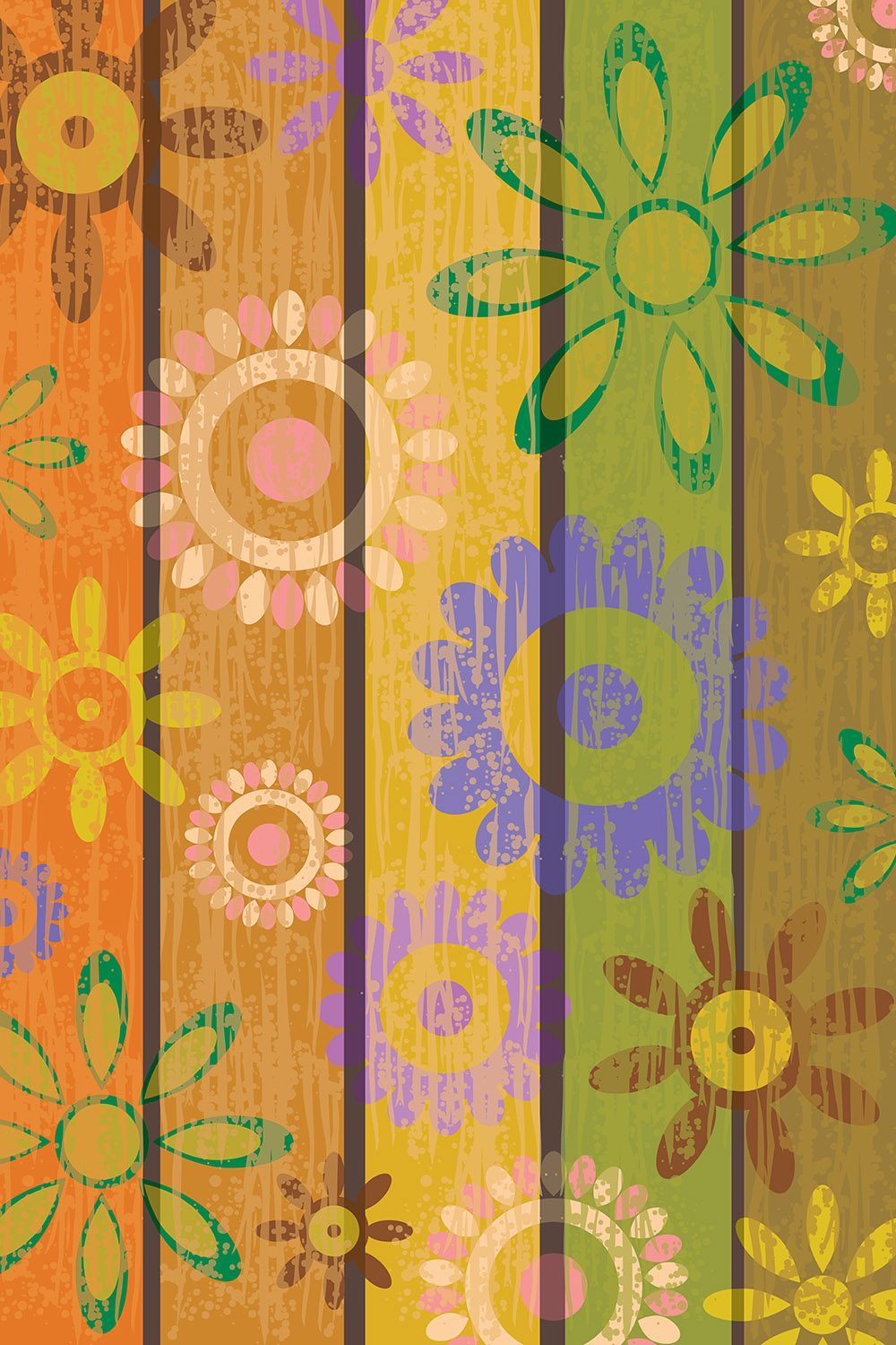Colorful Wood Planks Printed Vinyl Backdrop