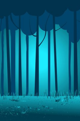 Night Blue Woods Printed Vinyl Backdrop