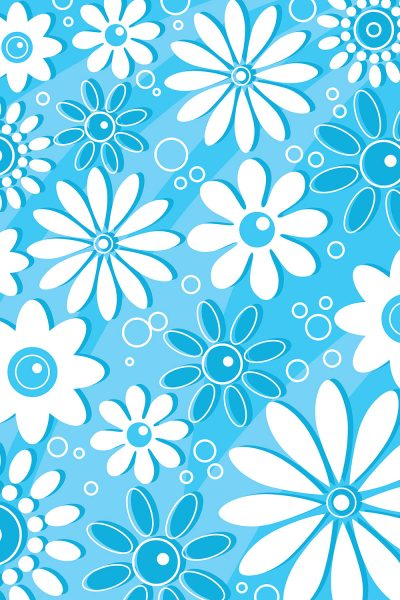 Retro Blue Flowers Printed Vinyl Backdrop