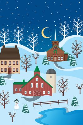 Winter Village Printed Vinyl Backdrop