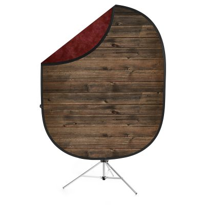Rustic Planks/Red Collapsible Backdrop