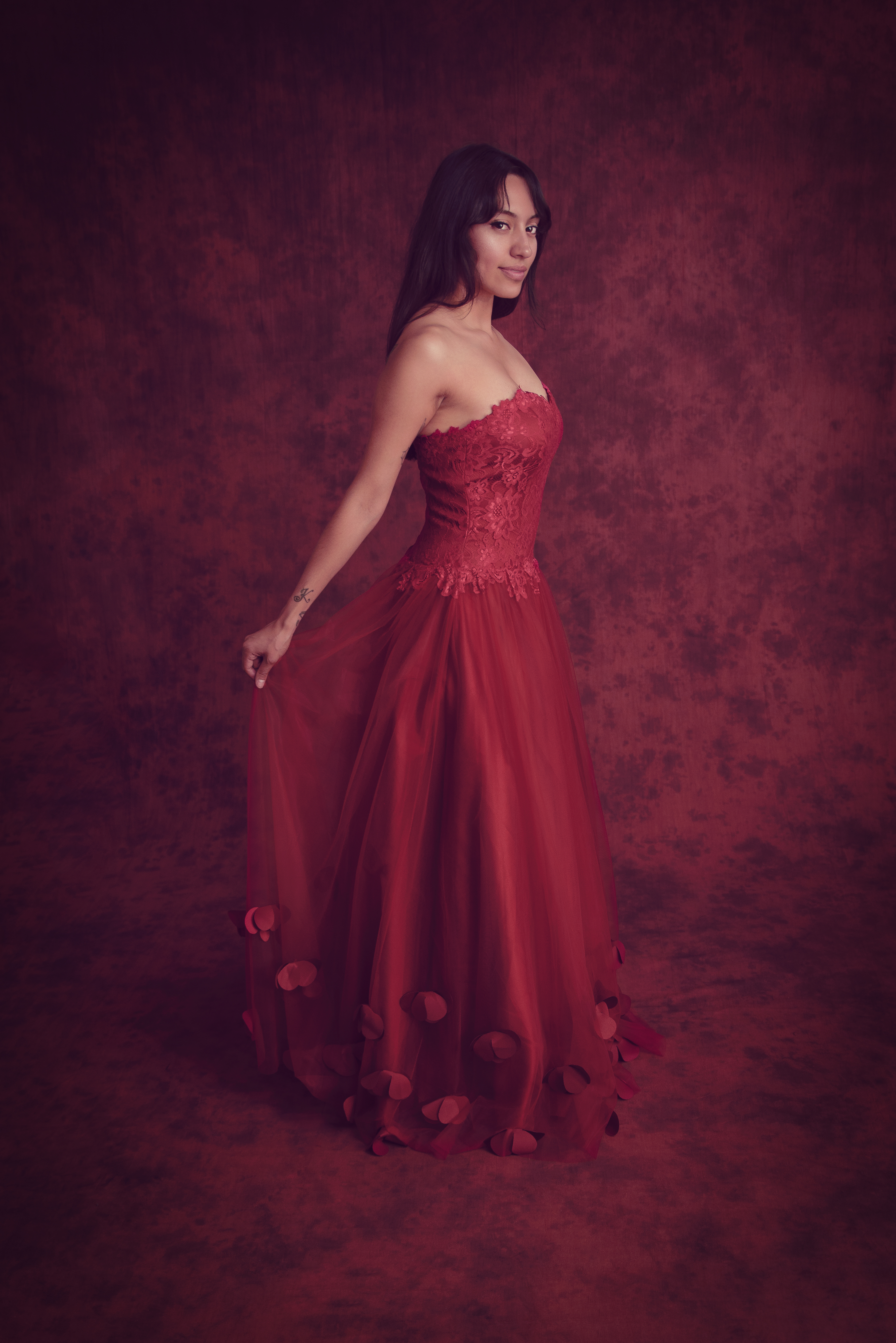 savage sedona red crushed muslin background elegant portrait by mike mcgee photography