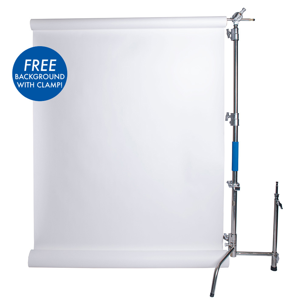 savage stainless steel c-stand kit with free paper backdrop and clamp